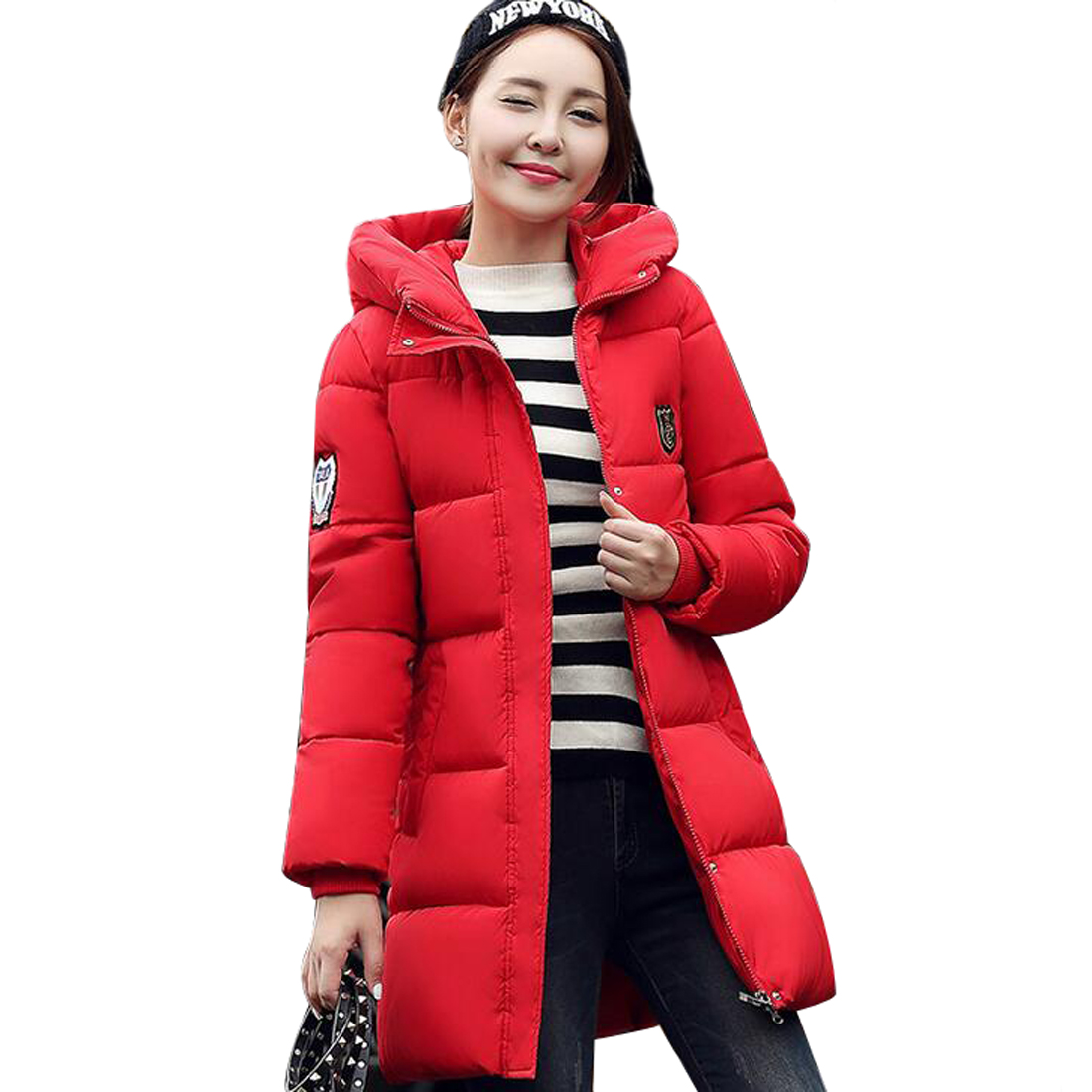 ФОТО Tengo New Winter Coat Long Thick Large Down Jacket Cotton Padded Outwear Women
