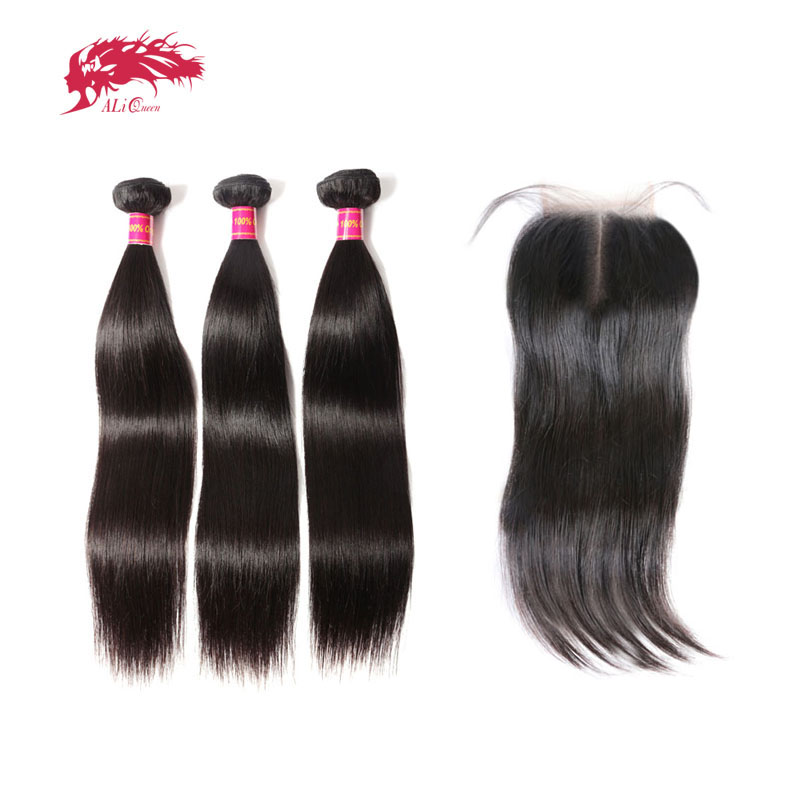 Ali Queen Virgin Brazilian Straight Hair 3 Bundles With Closure Natural Color Middle Part Pre-Plucked Human Hair Lace Closure