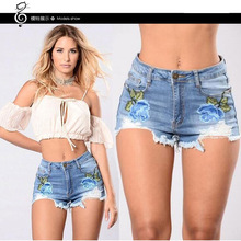 2017 New Womens Fashion Embroidery Denim Shorts Floral Printed Femme Women Plus Size Embroidered Short Elastic Females Hotpants