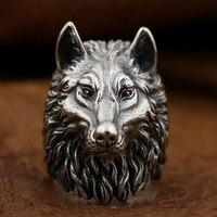 Кольцо из стерлингового серебра 925 пробы с волком ручной работы, огромное тяжелое мужское байкерское панк кольцо TA90A