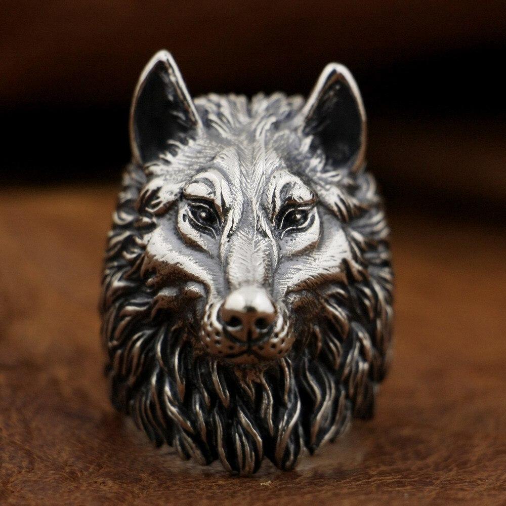 925 пробы Серебряный волк кольцо ручной работы Огромный Тяжелая Мужская Байкер панк кольцо TA90A
