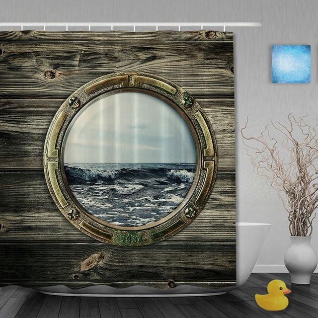 kstenlandschaft bad dusche vorhnge holz fenster duschvorhang waterproo polyester gewebe badezimmer vorhang haken - Vorhang Dusche Fenster