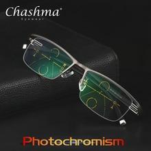 Chashma 새로운 조정 가능한 비전 이중 초점 전환 일 포토 크로 믹 프로그레시브 독서 안경 다 초점 안경