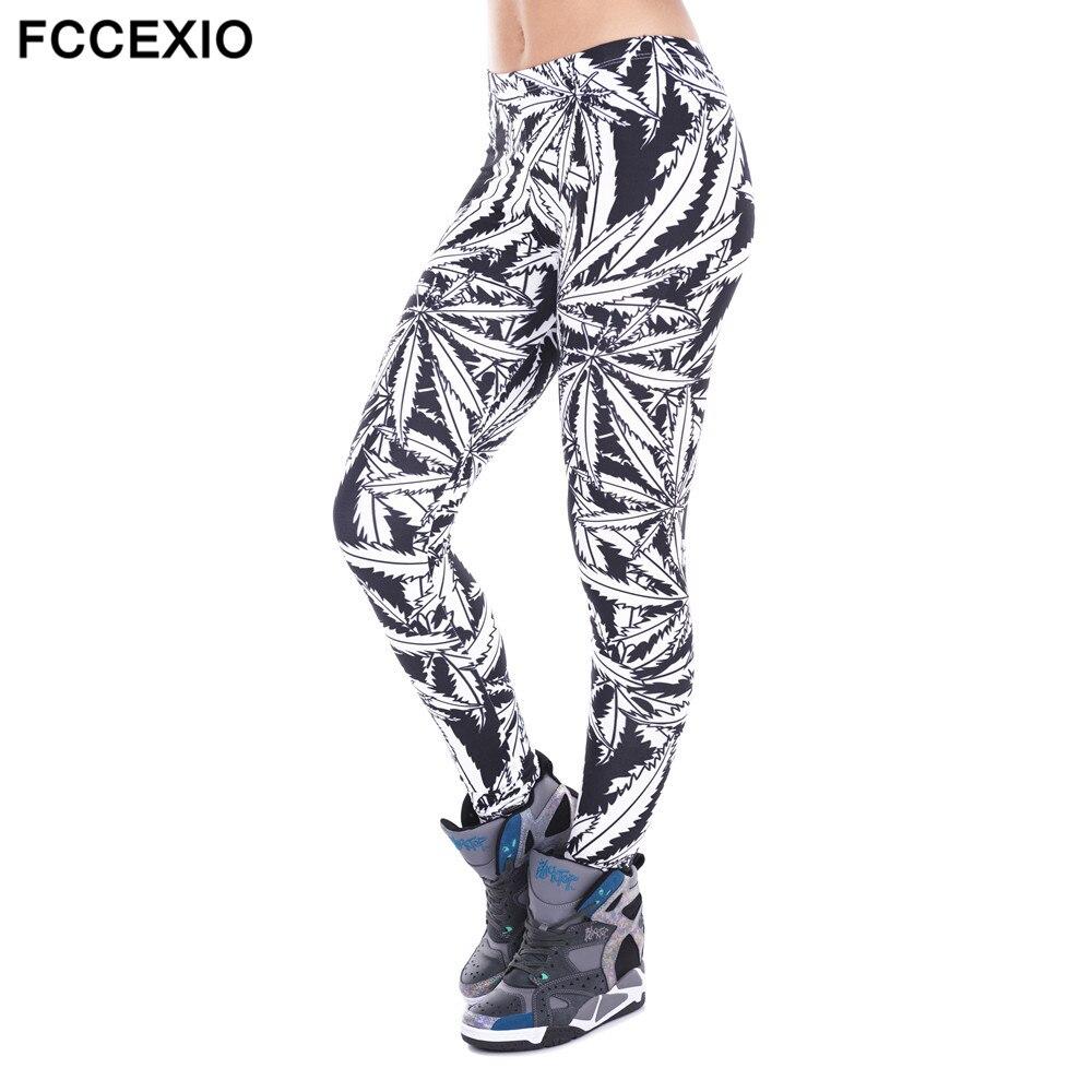 FCCEXIO Fashion Stretch Leggings Gray Weed Stripes Printing Fitness legging Sexy Silm legins High Waist Trouser Women Pants
