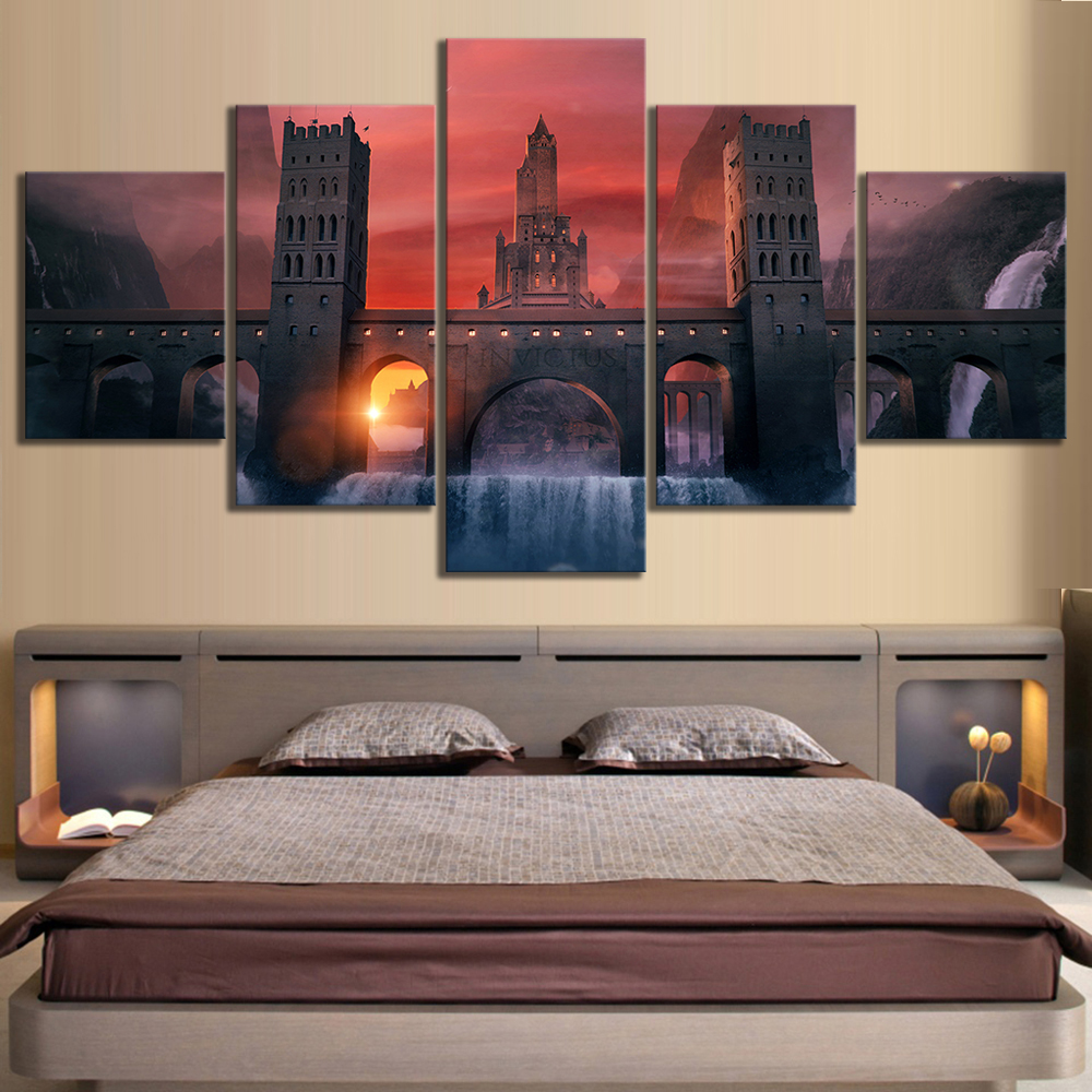 5 Piece HD Fantasy Art Video Games Poster Landscape Wall Paintings for Home Decor 1