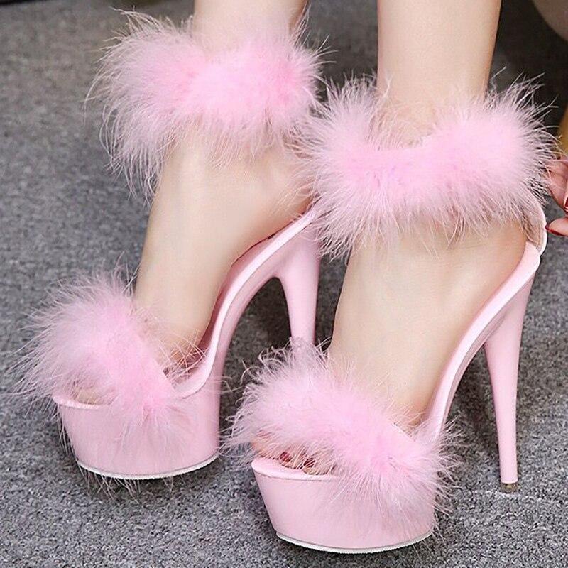 Ayakk.'ten Yüksek Topuklular'de Ayakkabı Kadın Kürk Sandalet Yaz Ayakkabı Platformu 15 cm Yüksek Topuklu Kadın Sandalet Siyah Beyaz Pembe Bayanlar Striptizci Ayakkabı Artı boyutu 43'da  Grup 1
