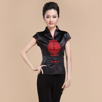 Summer New Black Chinese Style Women Satin Tang Suit Tops Blouse Vintage Traditional Chinese Shirt M L XL XXL XXXL 4XL T09