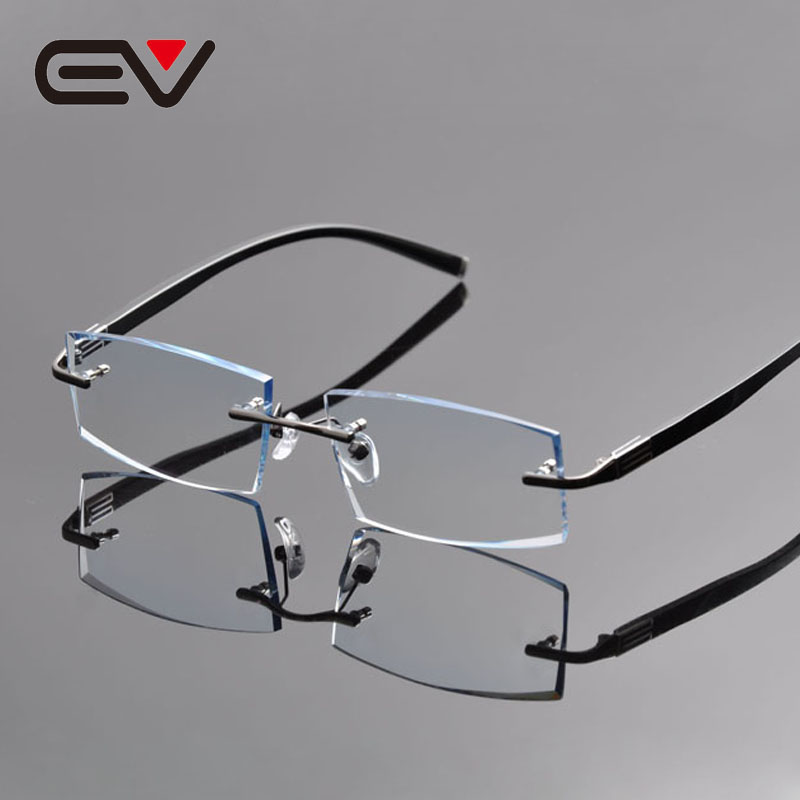 Gray Frame Reading Glasses : 2016 Elite Men Titanium Diamond Trimming Rimless Myopia ...