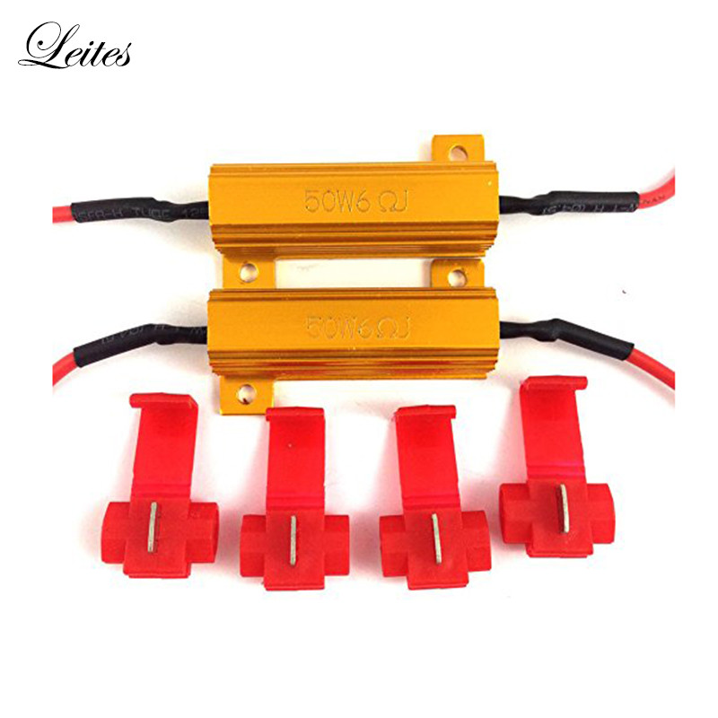 Leites Hot Sale 50W 6ohm Load Resistors Fix LED Bulb Fast Hyper Flash Turn Signal Blink Error Code For 1157 3157 7443