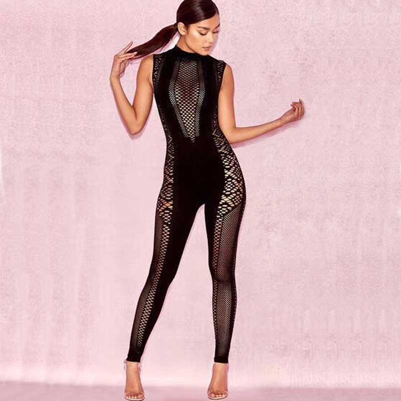 wholesale 2018 new Jumpsuits Black Mesh stretch tight Sexy skinny fashion Celebrity Party bandage Rompers (H2416)
