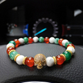 Christmas Gift Micro CZ Paved zircon male bracelet 8mm red agate lucky beads Bracelet skull bracelet White Turquoise Bangle