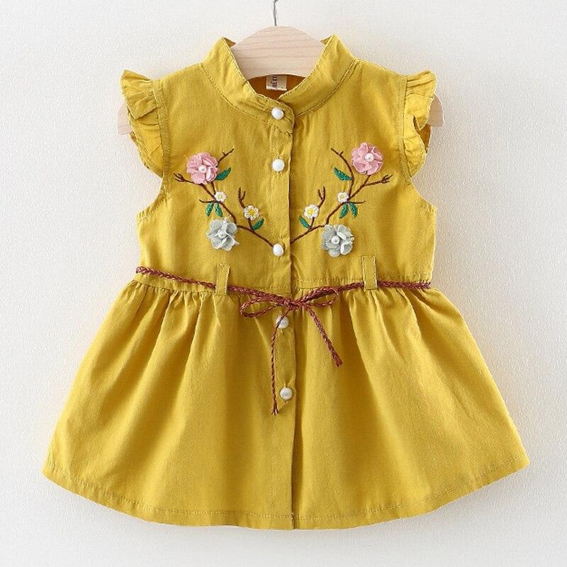 9089d31033ccd Baby Dress 2019 Summer Bow Design Belt Pearl Girl Dress Baby Sleeveless  Cute Dress Newborn Baby Yellow Dress Kids Clothes