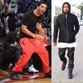 Más nuevos Mens PU Leather Pant Pantalones Tiro Caído Los Hombres Swag Hip Hop Streetwear Pantalones Joggers Negro Y Rojo