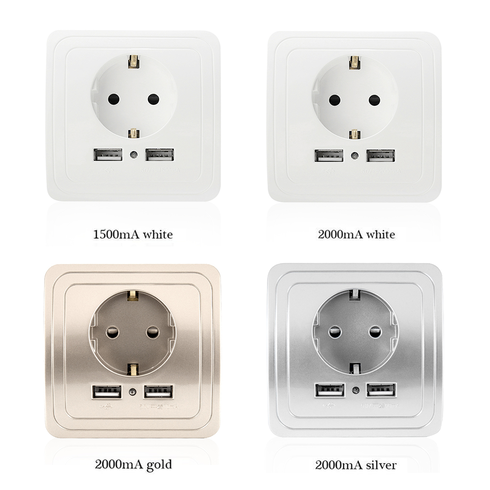 socket with usb wall outlet 5V 2A and 1.5A Dual Wall Socket eu Ports Charger 16A 250V kitchen plug sockets Electrical Outlet leory universal 2100ma 5v 2 usb wall socket ac 110 250v us uk eu au home wall charger 2 ports usb outlet power charger for phone