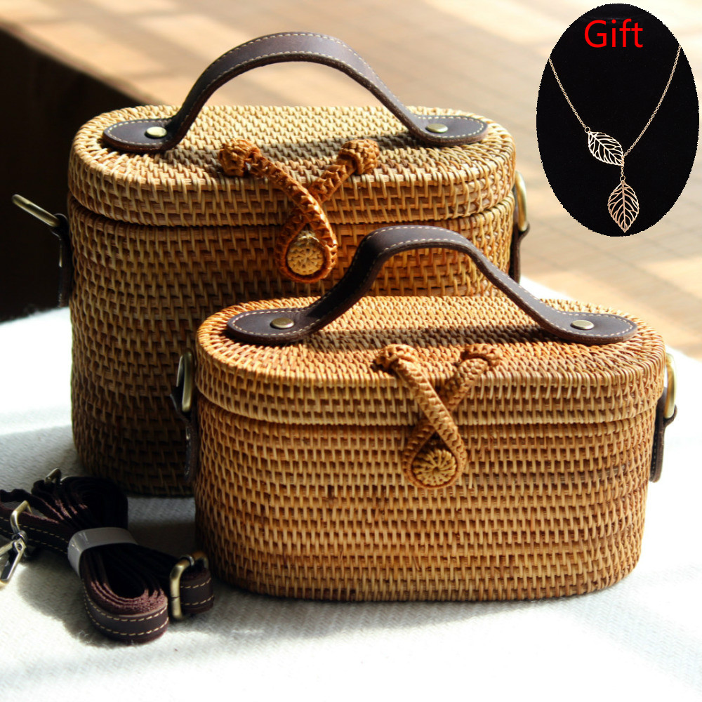 Dropshipping 2018 INS Hot Women Summer Crossbody Beach Bag Straw Bag for Women Handmade Straw Bag Bohemia Handbag Leather Bags stylish bowknot decorated wavy edge beach straw hat for women