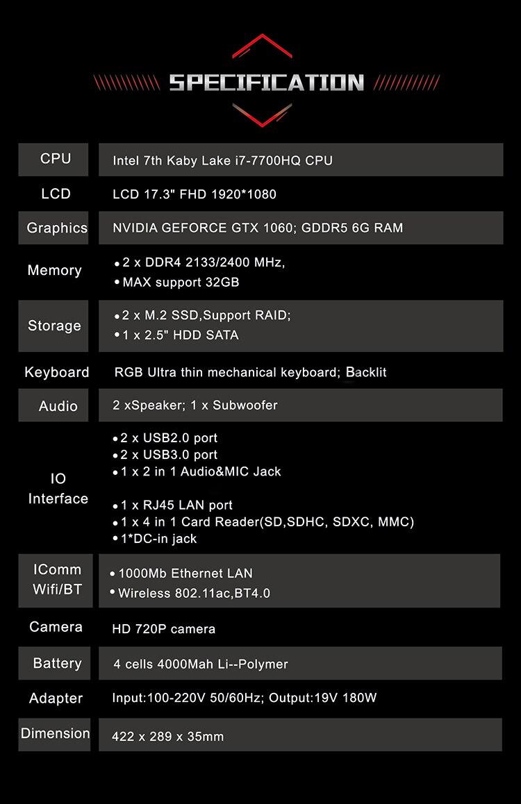 HTB1QsJBgRjTBKNjSZFDq6zVgVXa4 BBEN Laptop Gaming Computer Intel i7 7700HQ Kabylake 6G NVIDIA GTX1060 Windows 10 16GB Memory RGB Mechanical Keyboard HD Camera