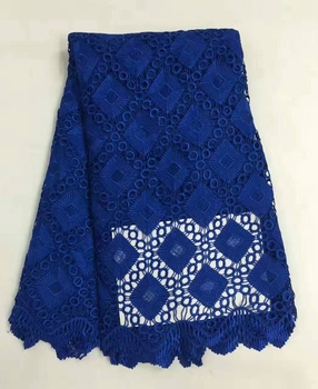 Big promotion royalblue color  african cord lace high quality chemical lace water soluble guipure lace fabric for textile