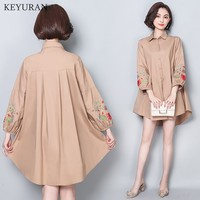 Plus Size 5XL Fashion Tops Embroidery Flower Shirts Women Casual Loose Long Sleeve Cotton Blouse Shirt Khakhi Black Blusas Tunic