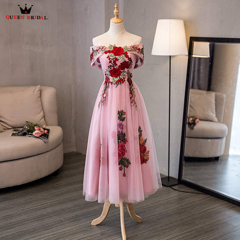 A-line Tea Length Embroidery Tulle Elegant Pink Short   Evening     Dresses   2018 New Party   Dress     Evening   Gowns Robe De Soiree NM05