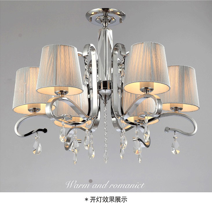 Fabric Shade Glass Crystal 6 Arm WHITE CRYSTAL CHANDELIER LIGHT Ceiling Lamp  Large Metal Pendant(