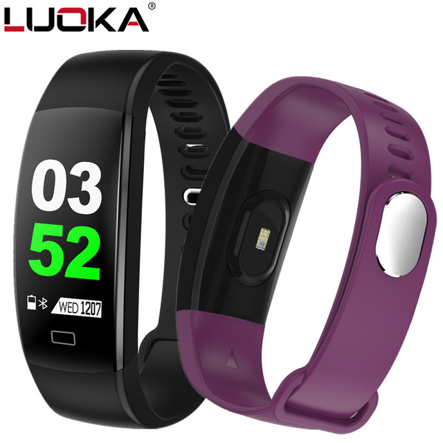 LUOKA Smart Fitness Bracelet Men Color Screen Smart Band Blood Pressure Heart Rate Monitor Wristband for Android IOS