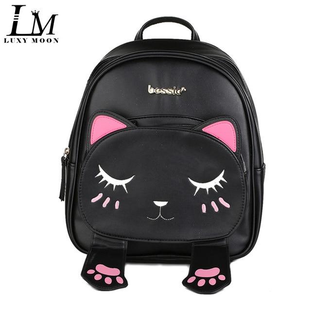 9be5a5da95a3b Słodkie kot hafty zwierząt plecaki kobiety Kawaii czarny PU skórzany plecak  dla nastoletnich dziewcząt śmieszne torba