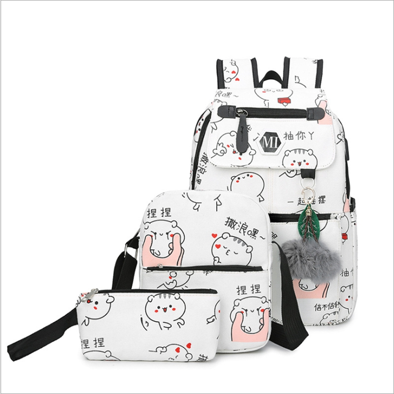 3pcs/Set Cartoon Canvas Printing Backpack Women School Back Bags For Teenage Travel Rucksack  Female Schoolbag Backpack3pcs/Set Cartoon Canvas Printing Backpack Women School Back Bags For Teenage Travel Rucksack  Female Schoolbag Backpack