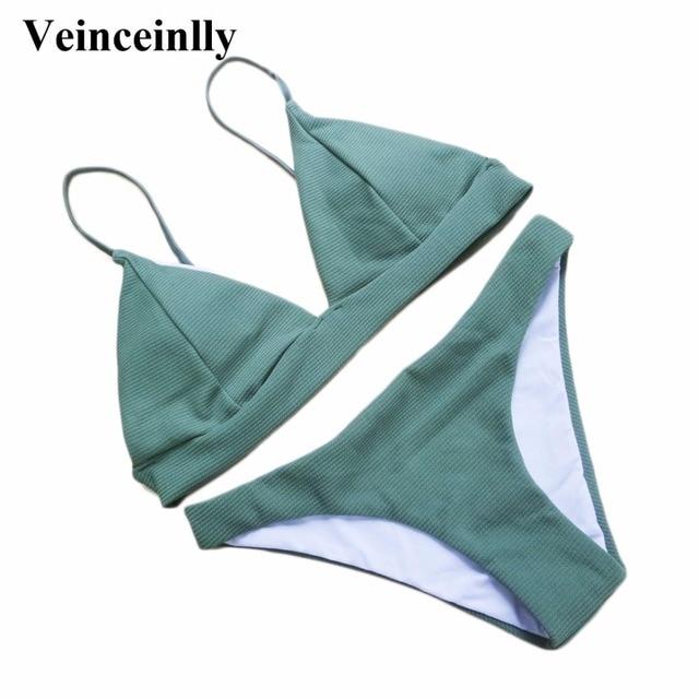 e996ebf8f19ec Bather Olive Green Sexy Brazilian bikini set 2018 two pieces swimsuit  female swimwear women bathing suit swim wear Y58