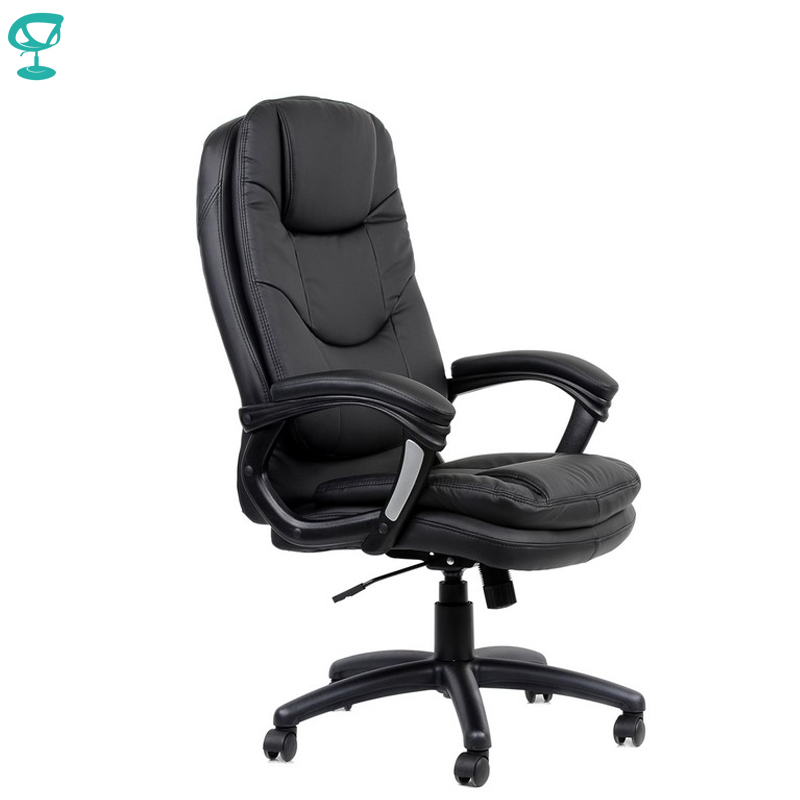 95163 Black Office Chair Barneo K-145 Eco-leather High Back Chrome Armrests With Leather Straps Free Shipping In Russia