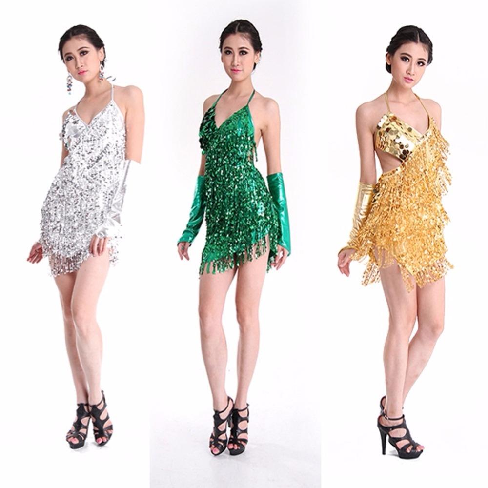 b4968697d 2019 Sexy Women Lady Girls Latin Dance Dress Sequins Tass Sequins ...