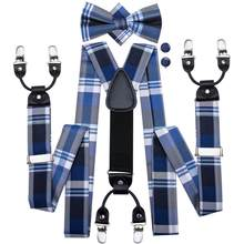 Men Suspenders Plaid Party Wedding Classic 6 Clips Silk Bow tie Pocket Square Set Blue Black Pink Y Shape Adjustable Braces(China)