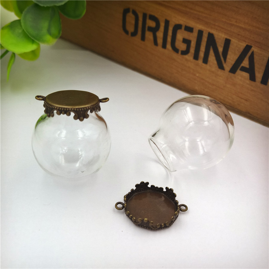NEW 100sets/lot 25x15mm glass globe with crown base set vial pendant cover