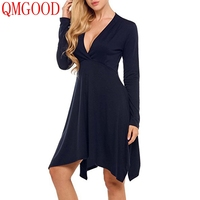 QMGOOD 2017 Ladies Sexy Simple Casual Dress Long Sleeves Deep V Collar Solid Dress Europe America