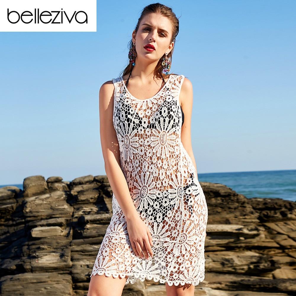 Belleziva Pareo Beach Cover Up Swimwear Women Robe De Plage Hollow Out Sexy Summer Bikini Cover Up Dress Swimsuit Beach Wear