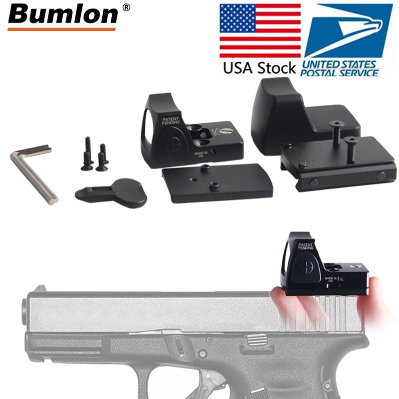 EUA Banco de Mini RMR Red Dot Visão laser Colimador Glock Mira Reflex Scope fit 20mm Weaver Rail Airsoft Rifle de Caça mira óptica