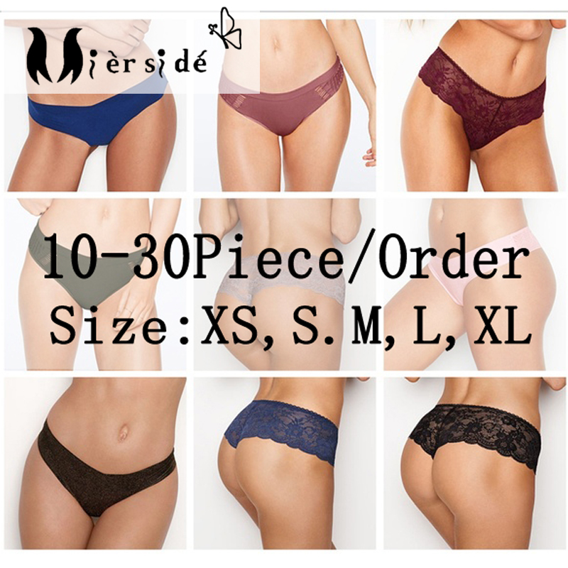 Mierside Random 10-30 Pieces/ Pack Any Different Style girls underwear   panties   sexy T-pants and Briefs XS/S/M/L/XL
