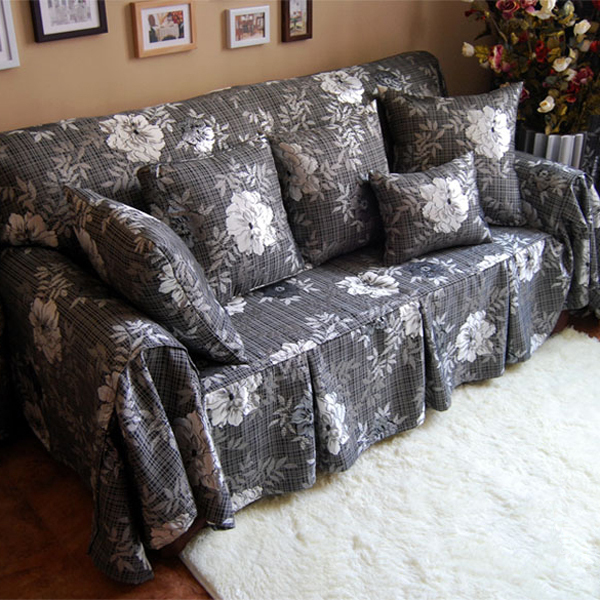 Clic Style Luxury Black Fl Pattern Decorative Sofa Cover Loveseat Chair Funiture For Double