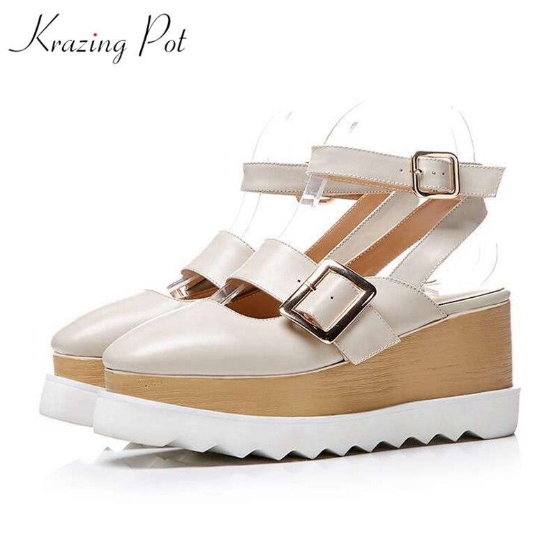 Krazing pot 2018 genuine leather square toe ankle buckle straps fashion women platform sandals women high heels summer shoes L18