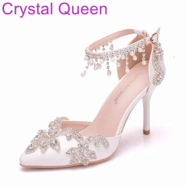 Crystal Queen Women Sandals Thin Heels Pointed Toe Shoes White Rhinestone  Wedding Bridals Shoes Plus Size 42 ea32079a5f8d