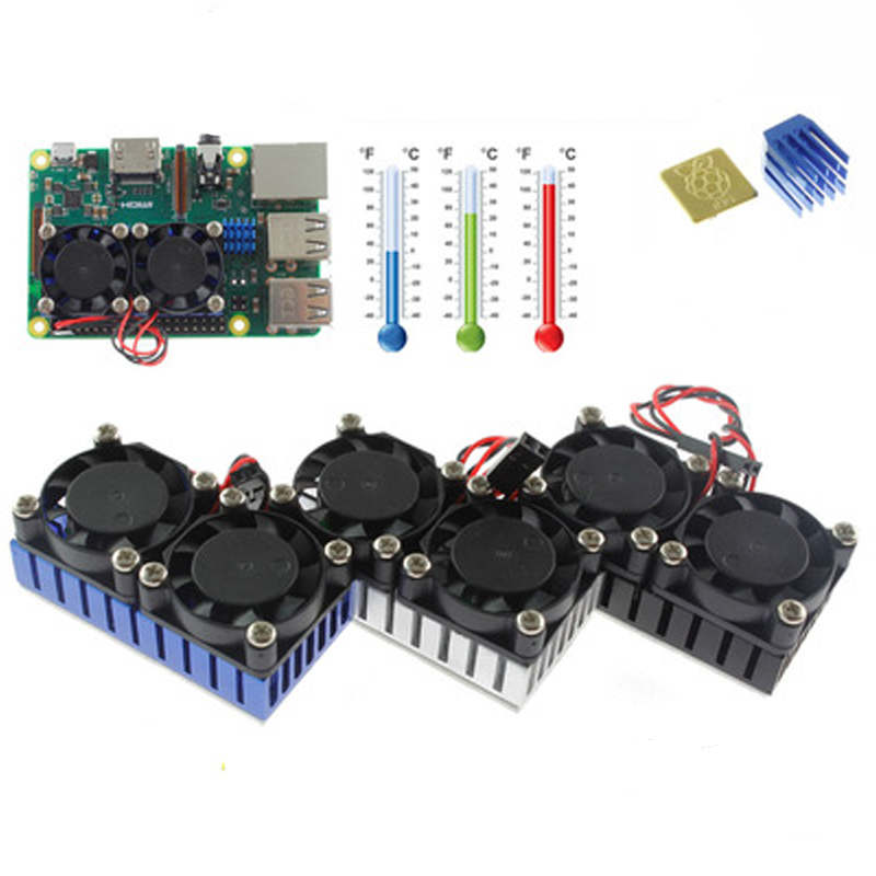 Raspberry Pi 3 Model B+ Dual Fan Cooling System Module Blue Slive Black Color With Heatsink For Pi3 B+ / NESPi Case