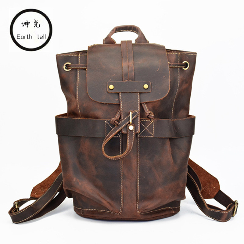 100% Genuine Leather Backpack Men Bag Retro Travel Backpacks Crazy Horse School Weekend Bags High Quality Woman Shoulder Packs men genuine leather high capacity backpack travel bag crazy horse leather famous brand fashion 14 inch notebook bag j50