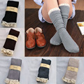 Hot Fashion Winter Women Socks Leg Warmer Crochet Lace Trim Cotton Knit Footed Leg Boot Knee High Stocking Free Shipping 19