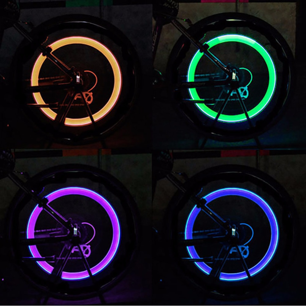 Super Power Lights Tire Lamp resistant Multicolor Bike Bicycle Accessories Supplies Neon Strobe LED Tire Valve Caps #272208