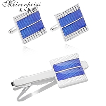 Meirenpeizi High Quality Cufflinks necktie clip for tie pin for men's gift Blue tie bars cufflinks tie clip Free Shipping