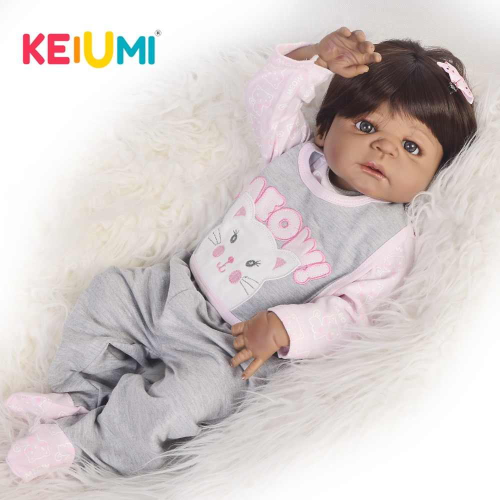 Новый KEIUMI 23 дюймов Reborn Baby полный средства ухода за кожей силиконовые модные черные чернокожая кукла Menina куклы для подарок ребенку на день рождения малыша