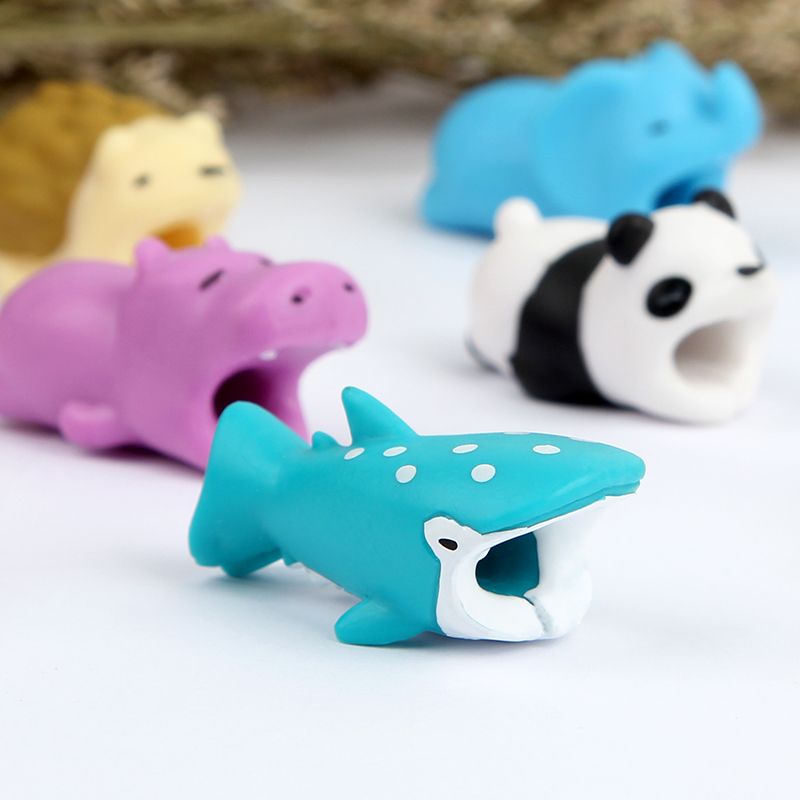 squishy Cute Animal Cable Bite Protector toys for Iphone cable Winder Phone holder Accessory cable biters dog rabbit cat doll