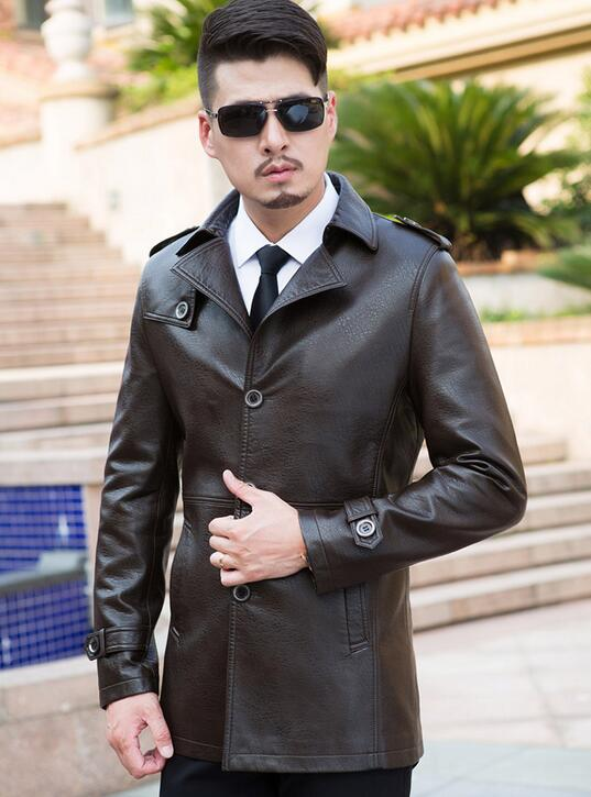 HOT 2018  Autumn/ Winter Men New long cultivate one's morality leather fashion leather coat  /M--XXXL