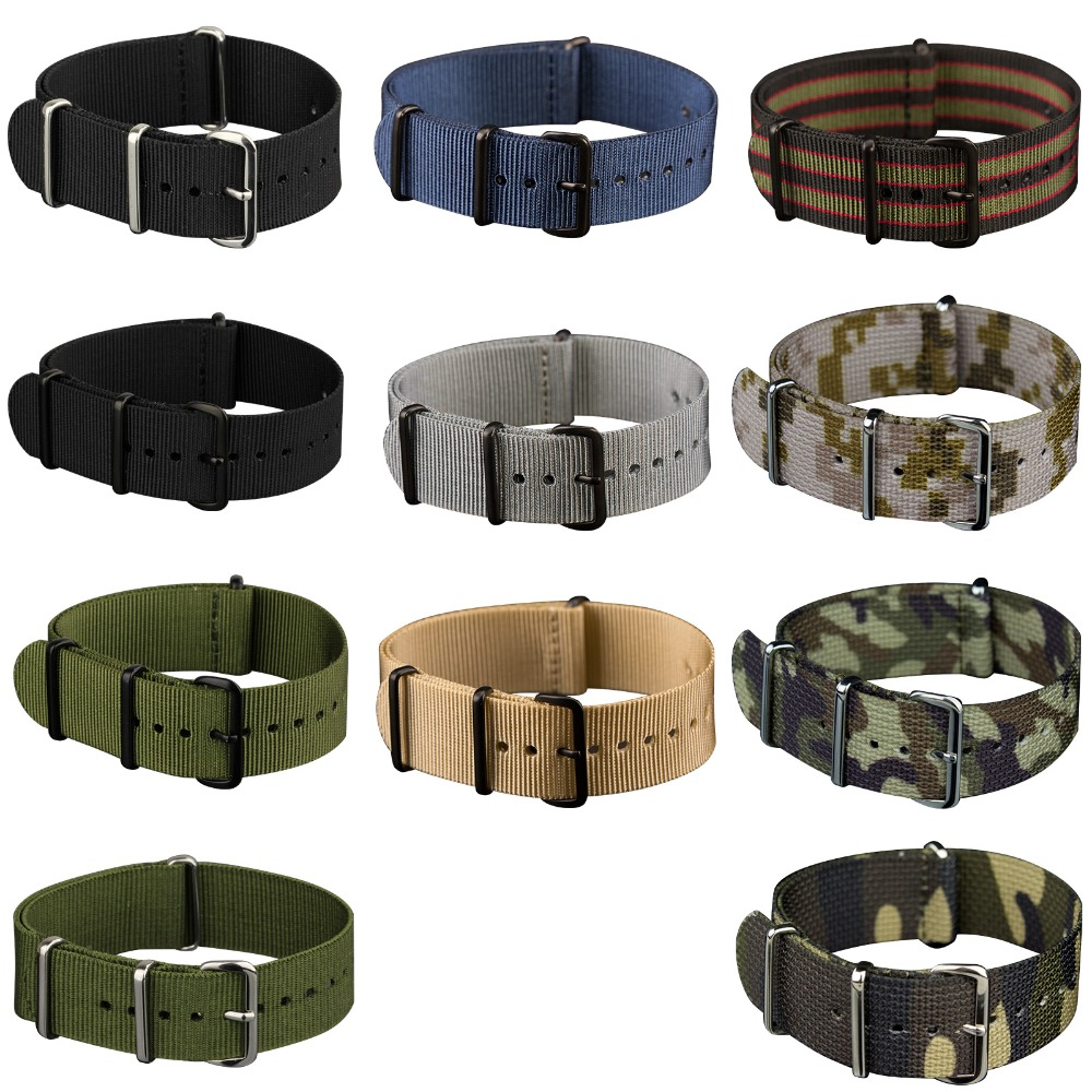 INFANTRY 20mm 22mm Nato Strap Nylon Watch Straps G10 4 Rings Watch Band Belt Military Army Diver Watchband Watch Accessories new high quality watchband 24mm nato multicolor 4 ring nylon military diver s watch strap
