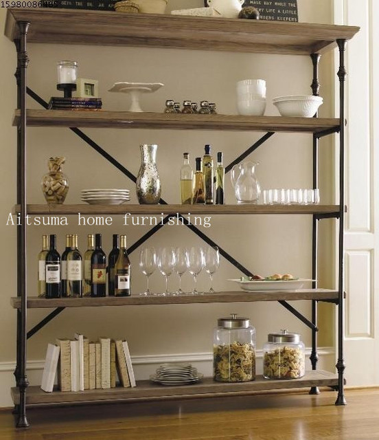 French Country Style Wood Bookcase Industrial LOFT Iron Floor To Do The Old Retro Glove IKEA