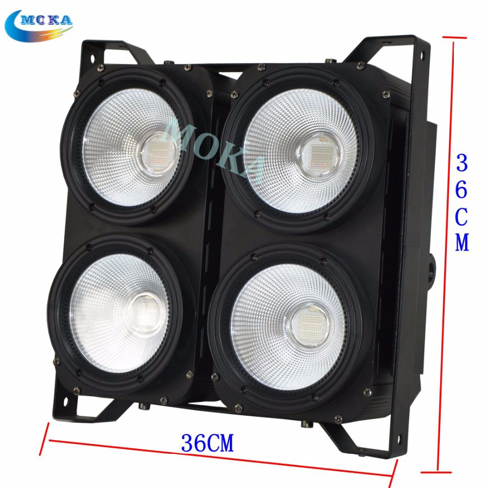 1pcs/lot 4 eyes 100w stage audience blinder light led RGB 3 IN 1 COB par light dmx 512 3/7/16CH Cool rgb LED Background Light show plaza light stage blinder auditoria light ww plus cw 2in1 cob lamp 200w spliced type for stage